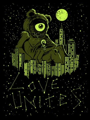 LOVE UNITES 2009 Glow in the Dark Art Print (glow parts) by MUNK ONE