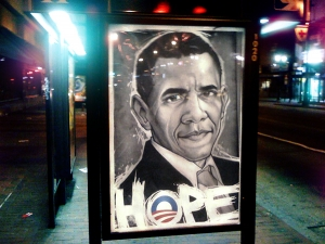 OBAMA 2008 Election Bus Stop Print by MUNK ONE