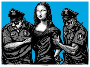 ILLEGAL 2013 Art Print Blue Variant by MUNK_ONE
