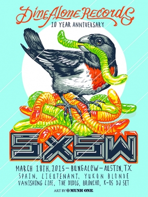 DINEALONE Records 2015 SXSW Print by Munk One