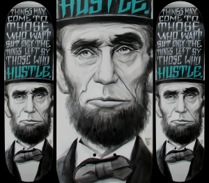 LINCOLN Custom Skateboard Artby Munk One